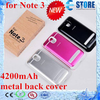 For Samsung Emergency Chargers  hot sale!!! For SAMSUNG GALAXY Note 3 N9000 4200mAh Power Bank Back Metal Cover Case, Charging Back Cover ,s