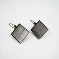 Wholesale 15mm brass bronze vintage square earring hoop earring hook earring base bezels tray setting