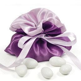 Dia 10cm Hot Sale Purple Satin Gift Bag Small Candy Bag Wedding Favors Party Decoration 50pcs lot CK081