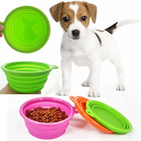 Wholesale New Silicone Dogs Cats Pets Travel Water Feeding Food Collapsible Compact Bowl WX48