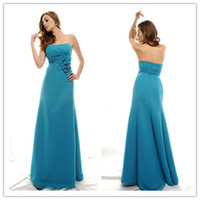 Wholesale New Hot Sale Tulle Strapless Bridesmaid Dresses Blue Elegant Party Gowns Handmade Flower Sheath Zipper Sleeveless Floor Length BD052