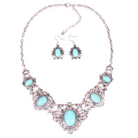Bohemian turquoise jewelry - Bubble Bib Statement Necklace Earring Set Turquoise Crystal Pendant Chain Jewelry For Women GCM