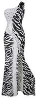 achat en gros de robes zebra à billes-Angel-fashions femmes une épaule rhinestone imprimé zèbre Bodycon style robe de bal robe de soirée robe de bal