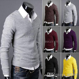 Wholesale New Fashion Men Pullover Solid Colors Knit Tops Jumper Knitwear Sweater Ax194
