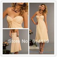 Wholesale 2014 Chiffon Tea Length Bridesmaid Dresses Draped A Line Sweetheart Zipper Back Empire Prom Dress