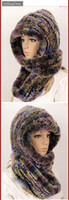 Wholesale New style top quality rex rabbit fur conjoined hat fashional scarf winter scarf wool cap beanies knitted hat
