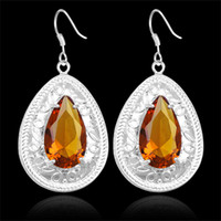 Wholesale fashion Brazilian Citrine crystal sliver Jewelry earring Charm factory price E0496