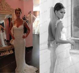 Wholesale 2014 Royal Style Inbal Dror Lace Wedding Dress White Mermaid Strap Shining Backless Wedding Dress With Beads Sweep Train Sale