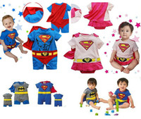 Wholesale Muscle Superman Baby Rompers Capes Supergirl Costumes Shortalls Batman Cosplay baby bodysuit smock Overalls HJ