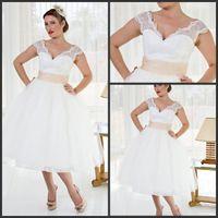 Wholesale 2014 Cheap Plus Size Sheer Garden A line V Neck Wedding Dresses Tulle Stain Lace Tea Length Bridal Dress Wedding Gowns