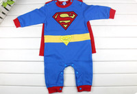 Wholesale Retail Superman Baby Rompers Smock Long Sleeve Baby Ovealls bodysuits Mantle Cape Coverall Top Quality HJ