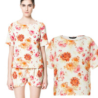 Short Sleeve Polyester  2013 European American Za Bershka New High Street Fashion Chiffon Flower Print Blouse Women Dudalina