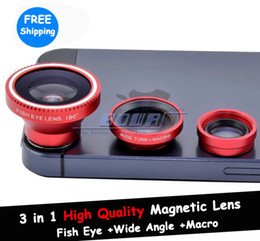 Red Magnetic 3 in 1 Camera Lens Photo Kit Fish Eye + Wide Angle Lens + Macro Lens for iPad iPhone 5 5S 5C 4S 4 HTC One Galaxy S3 S4 Note 3