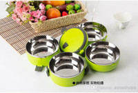 Wholesale 2014 double stainless steel insulation children lunch box student picnic boxes bento box