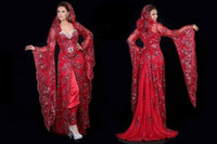 Reference Images Sweetheart Elastic Satin 2014 Unique Sheath Sweetheart Neckline Sweep Train Length Long Sheer Poet Sleeve Shiny Lace Applique Beaded Red Stain Arabic Evening Dress