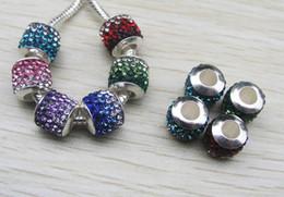 Wholesale 40PCS mm Gradient Ramp Crystal Rhinestone Silver Core Big Hole Metal Loose Beads fit European Braclet Charm DIY mix Color