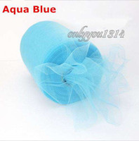Wholesale 6 quot x100yd Spool Aqua Blue Tulle Rolls Tutu DIY Craft Wedding Banquet Home Fabric Decor Bow