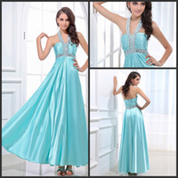 Wholesale 2014 Cheap Halter Backless Light Sky Blue Evening Gowns Zipper Crystal Evening Formal Dresses Ruffle Ankle Length Stretch Silk Elegant Tan