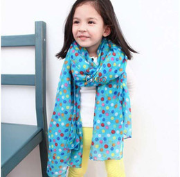 Wholesale Children Scarves Kids Scarf Child Neckerchief Fashion Polka Dot Princess Scarves Baby Cute Candy Color Scarf Multicolour Long Neckerchief