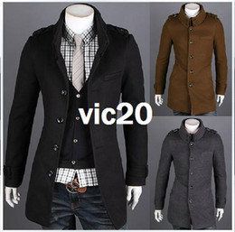 Wholesale The new Korean men s unique double collar badges fashion coat
