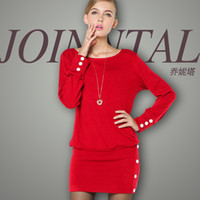 Casual Dresses Round Knee Length Brand new winter star with money ladies cashmere yarn package hip long-sleeved knit dress genuine European stations
