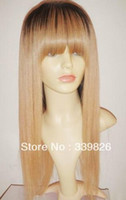 Cheap Bestbuy Custom #1b #27 fashion straight two tone Brazilian human hair full lace wig & ombre color lace front wig with bang