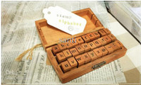 Wholesale Letter Wood stamp Set Wooden Box Multi purpose stamp DIY funny work regular script