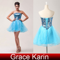 Shining Sequins Strapless Ball Gown Mini Short Cocktail Dres...