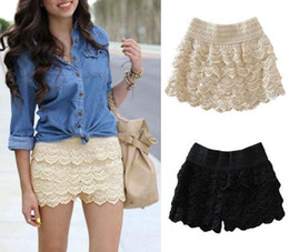 Wholesale 2013 Hot Sale Korean Fashion Womens Sweet Cute Crochet Tiered Lace Mini Skirt Pants WF