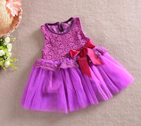 TuTu Summer Pleated Wholesale - Summer Baby Kids Clothing Girls Lace Vest Dresses Korean Pure colour sleeveless Children Dress TS122