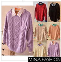 Wholesale WINTER CREW NECK RETRO DIAMOND LATTICE TWIST MOHAIR PULLOVER SWEATER BOTTOMING KK Freeshipping