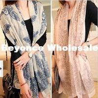 Wholesale New Fall Winter Women Lady Scarf Blue and White Porcelain Scarf Pashmina Beach Scarf Shawl size M cm RJ1779
