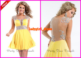 Wholesale Fashion Jewel Yellow A line Chiffon Mini Short Sequins Crystal Party Time backless Prom Cocktail Dresses Formal Homecoming Dress Gowns