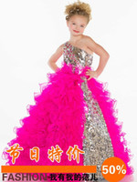 2014 Girl's Pageant Dresses Cute Princess One Shoulder Bling...