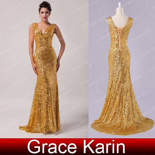 Grace Karin New Shining Sequins Gold Evening Dresses Deep V Neck ...