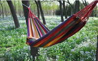 Wholesale hot sale Outdoor Thick Canvas X cm Hanging Chair Double Single Hammock Holiday Tourism Camping Hunting Leisure Fabric Stripes