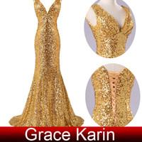 Wholesale Grace Karin Dazzling Gold Sequins Deep V Floor Length Mermaid Prom Dresses Evening Gown Formal Dress CL6052