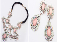 Chokers Bohemian Women's Lulu Frost Chain Crystal Pendant Necklace Earring Pink Stone Artificial Diamond Short Necklaces Exaggeration Layering Flowers Clavicle Chain