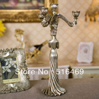 Wholesale Big size fashion vintage resin classical wedding candle decoration home decoration personality belle christmas decoration