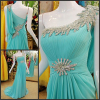 2014 Fashionable Shimmering Sexy One- shoulder Ice Blue Chiff...