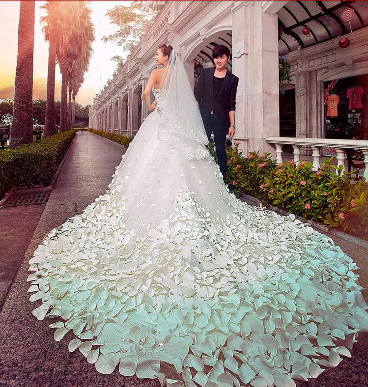 50% Off White A Line Long Train Wedding Dresses ...