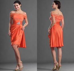 Wholesale Hot Sale Sheath Bateau Short Sleeve Orange Chiffon Lace Party Dresses Knee Length Sexy Cocktail Dresses Newest Short Sleeve Prom Dresses