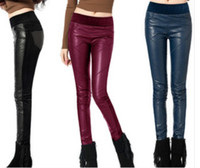 Leggings stretch jeans - New Women s PU leather jeans tight pencil pants stretch pants large size