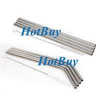 Wholesale New in1 Stainless Steel Reusable Drinking Cocktail Beverage Straws with Brush Set