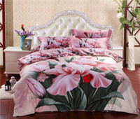 Adult Twill 100% Cotton 3D Pink floral flower comforter bedding set queen duvet cover quilt bed linen sheet bedsheet bedspread oil painting cotton