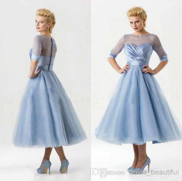 Discount Blue Half Sleeves Illusion Sweetheart A Line Wedding ...