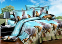 Polyester / Cotton Woven Home Horse comforter bedding set queen size azure blue comforters bedspread duvet cover bed in a bag sheet quilt linen oil painting modern cotton