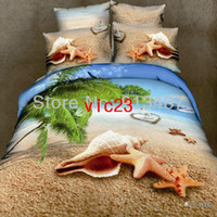 Wholesale beach Shell starfish d oil print bedding set luxury cotton ocean Queen size duvet quilt comforter cover bed sheets Linen sets