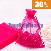 Wholesale Hot Sale x15cm Fuchsia Organza Bag Wedding Favor Party Gift Candy Bag