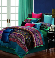 Woven king size bedspreads - Luxury Egyptian cotton paisley bedding set king queen size silk quilt duvet cover bed in a bag sheets bedspreads bedsheets linen designs
